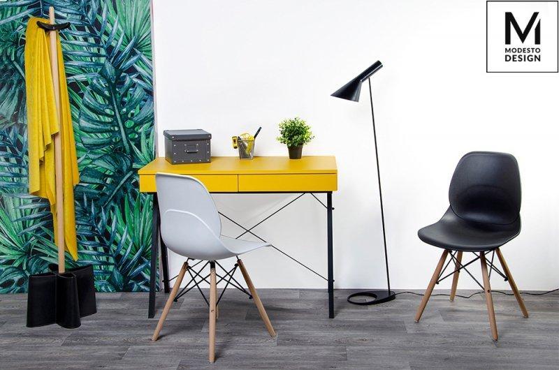 MODESTO krzesło LEAF WOOD białe - polipropylen, podstawa bukowa