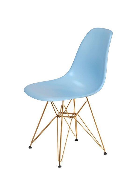 Krzesło DSR GOLD błękitny.11 - podstawa metalowa złota
