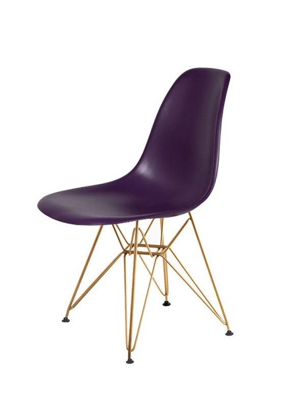 Krzesło DSR GOLD fioletowa purpura.39 - podstawa metalowa złota
