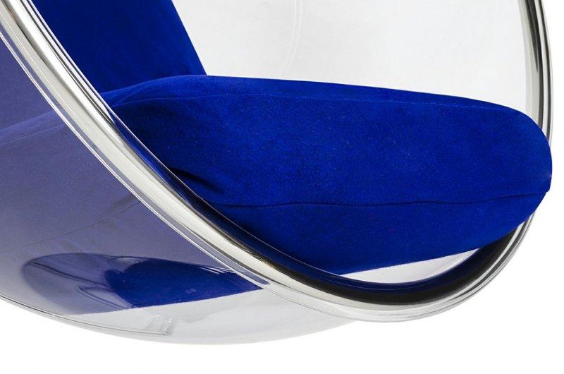 Fotel wiszący BUBBLE poduszka atramentowa - korpus akryl, poduszka wełna