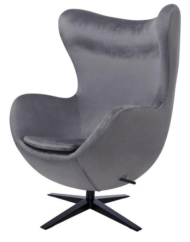 Fotel EGG SZEROKI VELVET BLACK ciemny szary.40 - welur, podstawa czarna