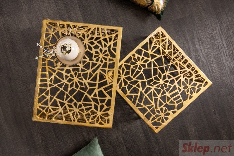 INVICTA zestaw stolików ABSTRACT złoty - aluminium