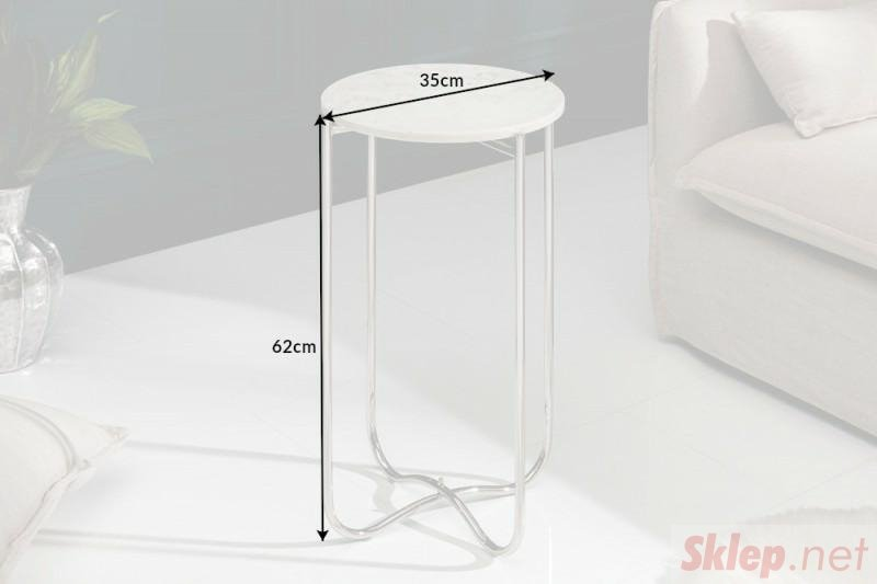 INVICTA stolik NOBLE I 35 cm biały - marmur