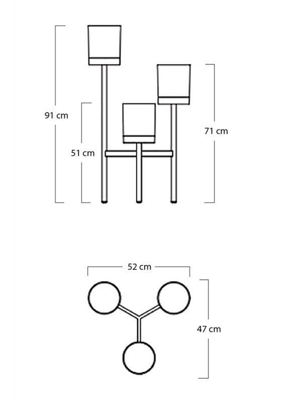 Kwietnik FIORI z doniczkami  - metal, polipropylen.