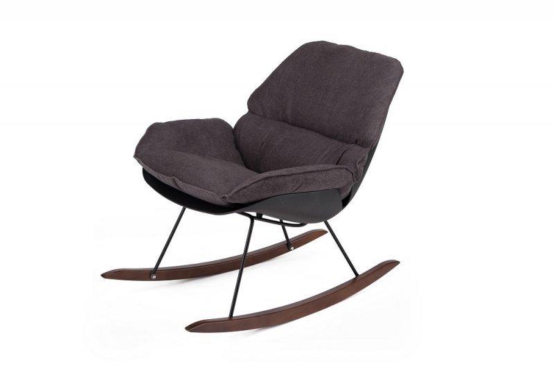 Fotel bujany NINO czarny - tkanina ciemnoszara, płozy drewniane