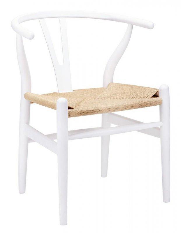 Krzesło WISHBONE białe - drewno bukowe, naturalne włókno