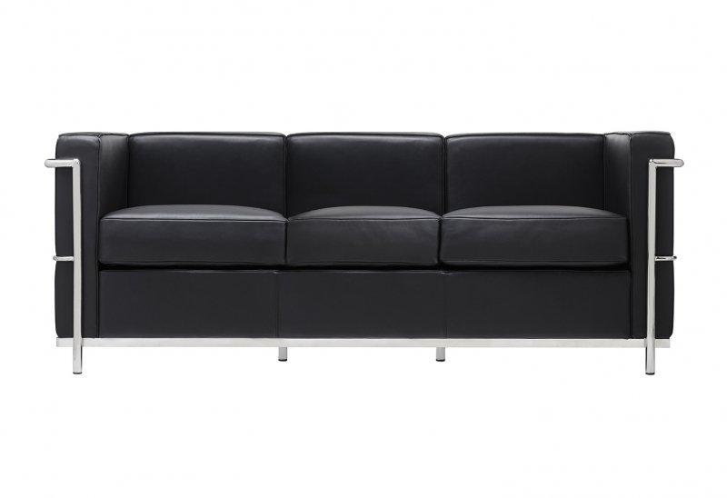 Sofa trzyosobowa SOFT LC2 czarna - włoska skóra naturalna, metal