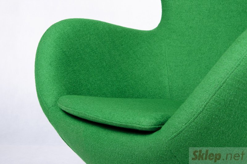 Fotel EGG SZEROKI BLACK zielony.10 - wełna, podstawa czarna