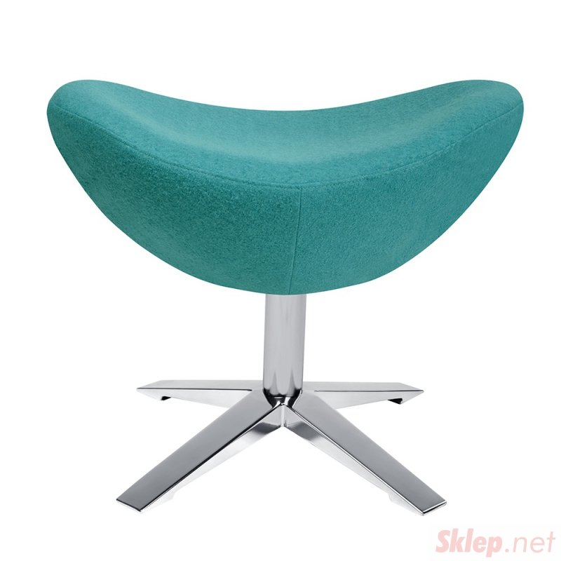 Fotel EGG SZEROKI z podnóżkiem turkusowy.12- wełna, podstawa stal