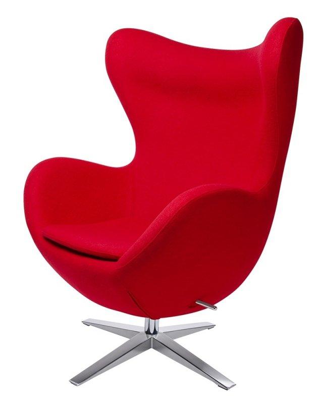 Fotel EGG SZEROKI z podnóżkiem czerwony.1- wełna, podstawa stal