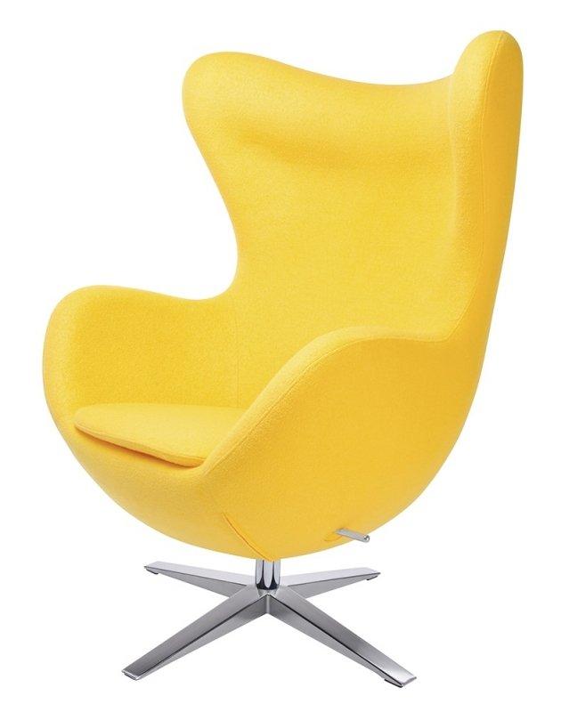 Fotel EGG SZEROKI z podnóżkiem żółty.5 - wełna, podstawa stal