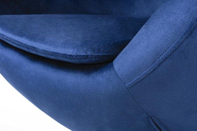 Fotel EGG SZEROKI VELVET BLACK z podnóżkiem ciemny niebieski.49 - welur, podstawa czarna