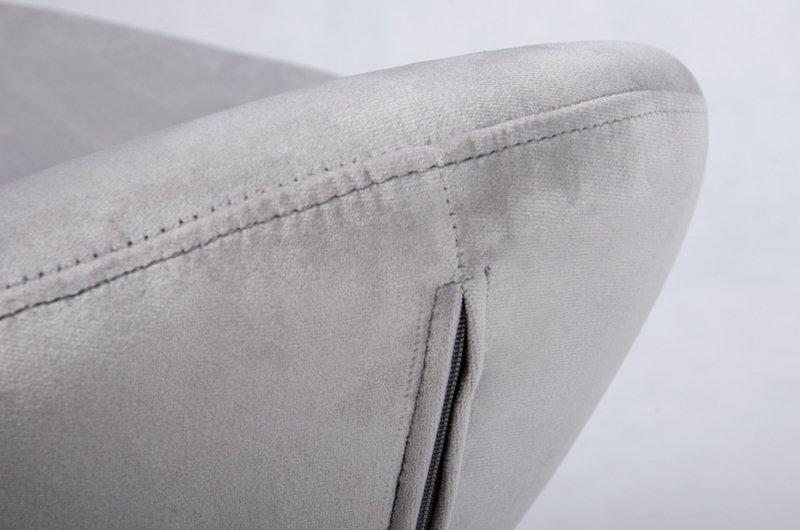 Fotel EGG SZEROKI VELVET BLACK z podnóżkiem jasny szary .37 - welur, podstawa czarna