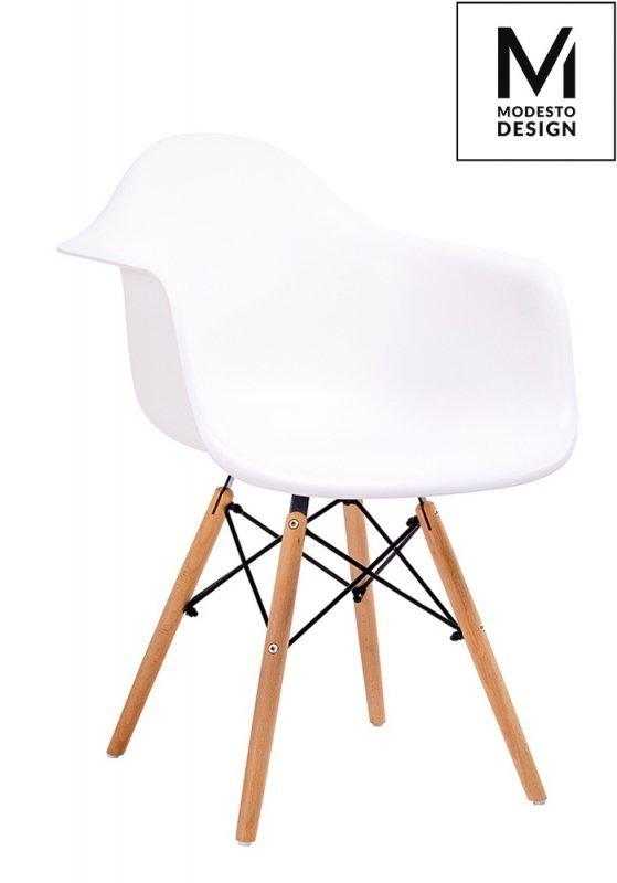 MODESTO fotel DAW DSW biały - polipropylen, nogi bukowe