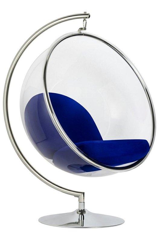 Fotel BUBBLE STAND poduszka atramentowa - podstawa chrom, korpus akryl, poduszka wełna
