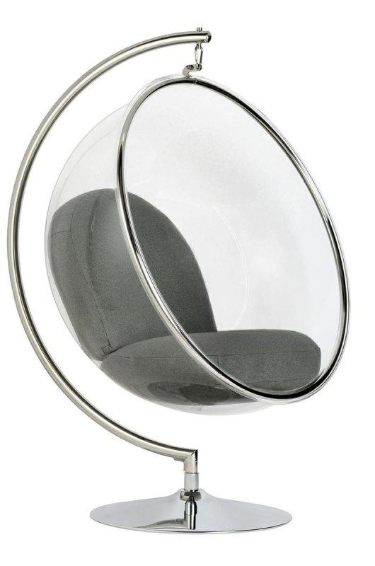 Fotel BUBBLE STAND poduszka szara - podstawa chrom, korpus akryl, poduszka wełna