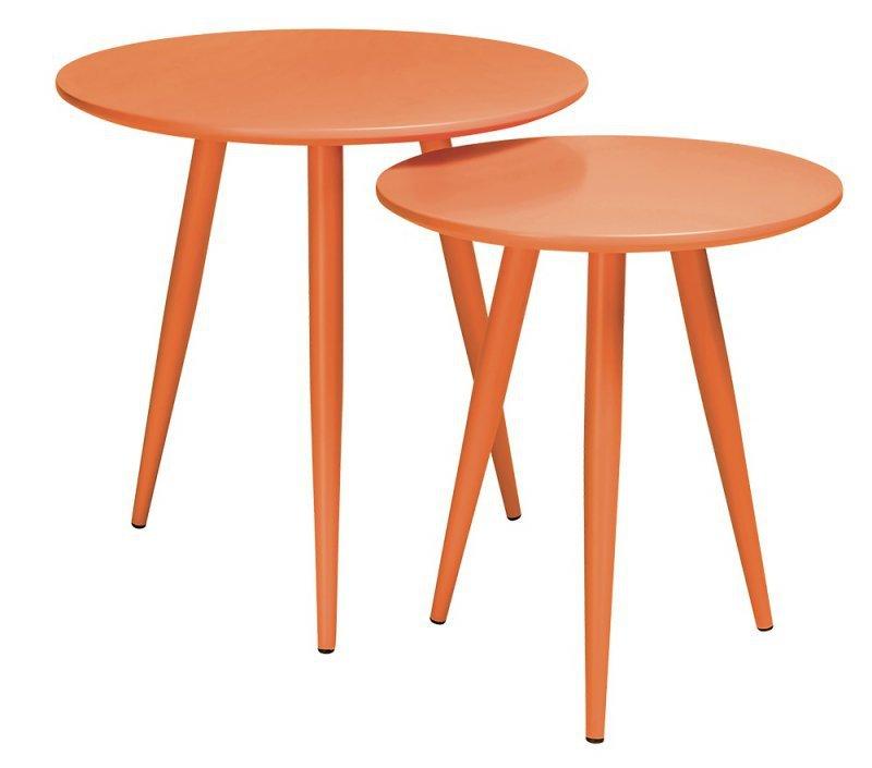 Zestaw stolików LEO pomarańczowe - MDF, metal