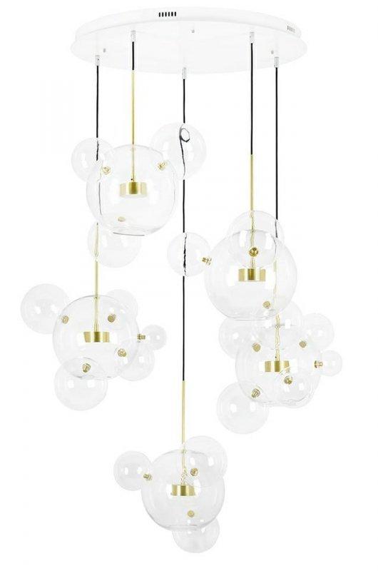 Lampa wisząca CAPRI DISC 5 złota - 300 LED, aluminium, szkło