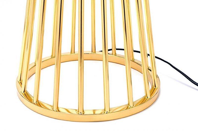 Lampa podłogowa HOLMES złota z czarnym kloszem -  metal