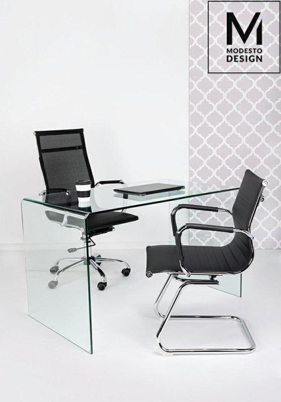 MODESTO fotel biurowy ERGO SQUID czarny - ekoskóra, chrom