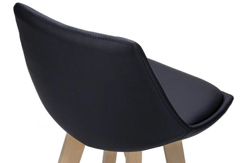 Hoker SLIM SOFT czarny - polipropylen, ekoskóra, drewno bukowe