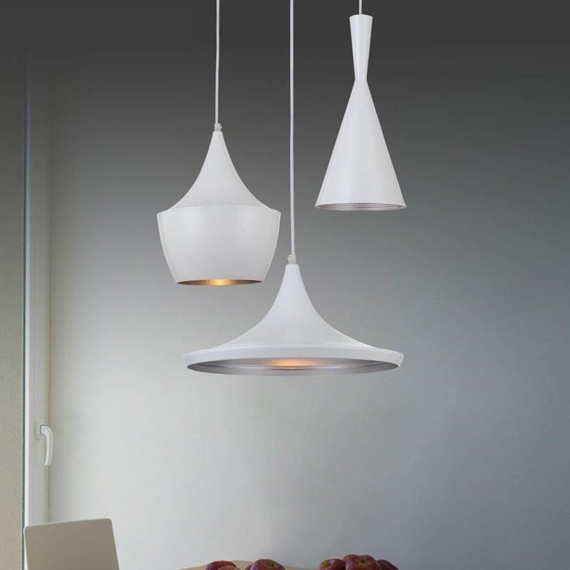 Lampa wisząca BET SHADE WIDE biała - środek srebrny