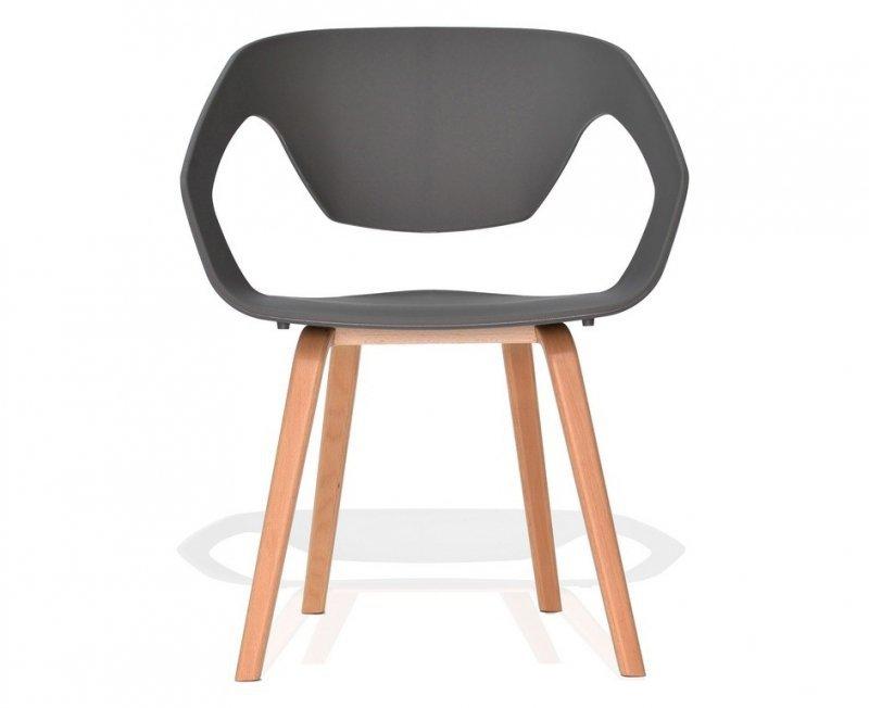 Fotel SORISSO szary - polipropylen, podstawa bukowa