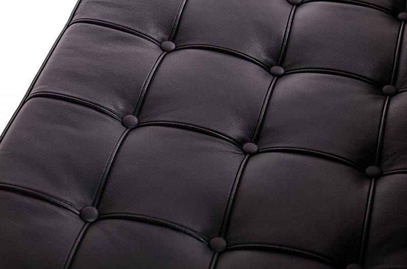 Sofa dwuosobowa BARCELON czarna - włoska skóra naturalna, stal