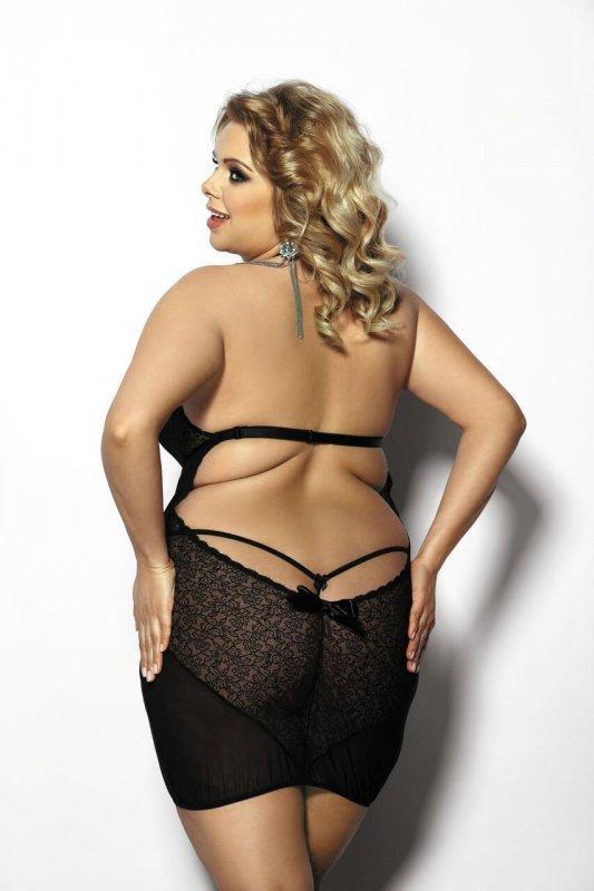 Amysa black chemise XL+ (czarna halka)