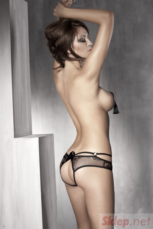Bielizna-Permission black open panty S (czarne majtki)