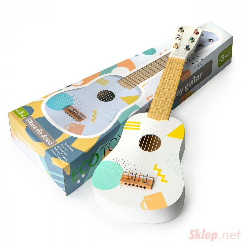 Drewniana gitara dla dzieci klasyczna 6 strun ECOTOYS
