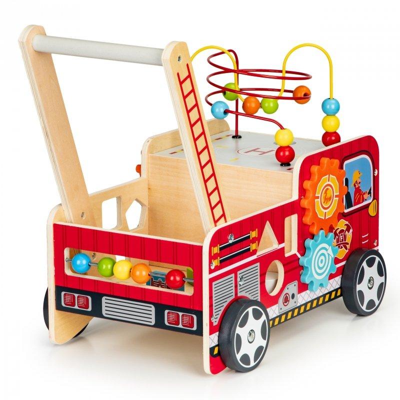 Drewniany pchacz edukacyjny z klockami dla dzieci - Straż Pożarna