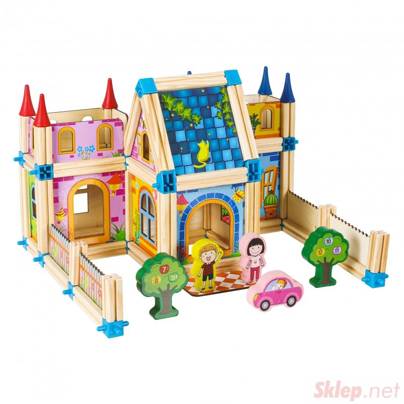 Drewniane klocki konstrukcyjne budowanie domek 6w1
