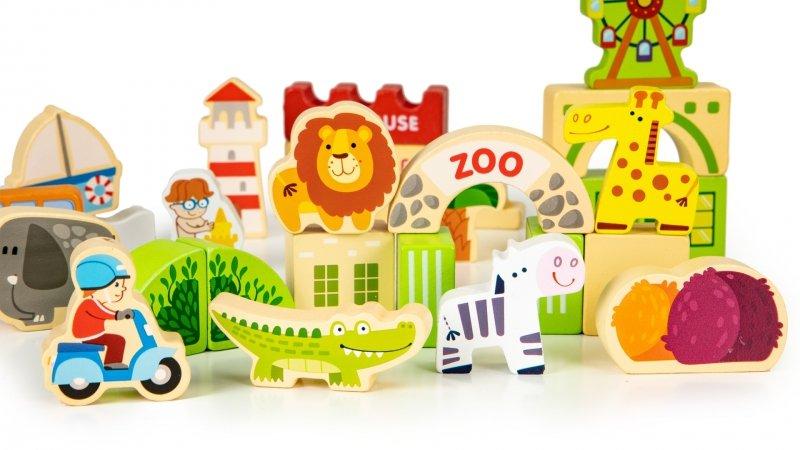Drewniane klocki edukayjne miasto zoo 120 el.