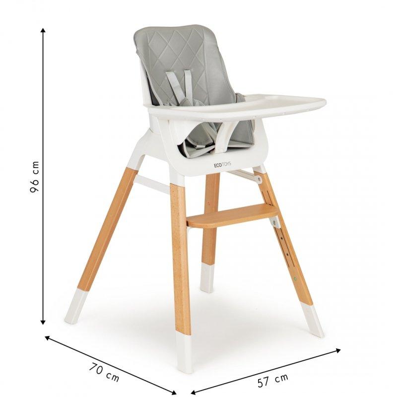 Krzesełko fotelik do karmienia dzieci drewniane nogi Ecotoys