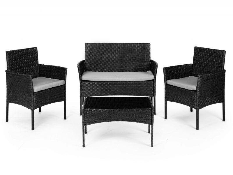Meble ogrodowe zestaw stół 2x fotel ławka ratan