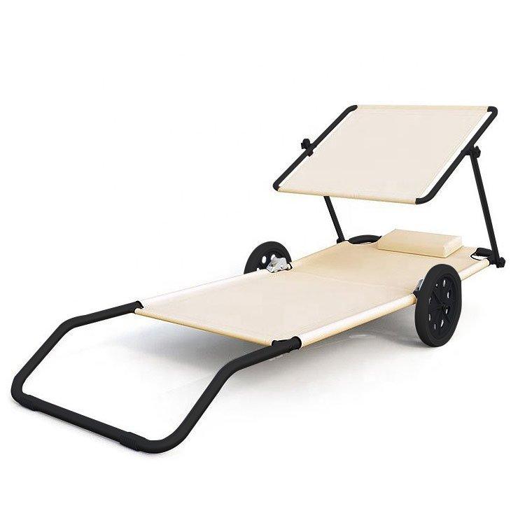 Leżak na kółkach 2w1 składany plażowy daszek 2szt