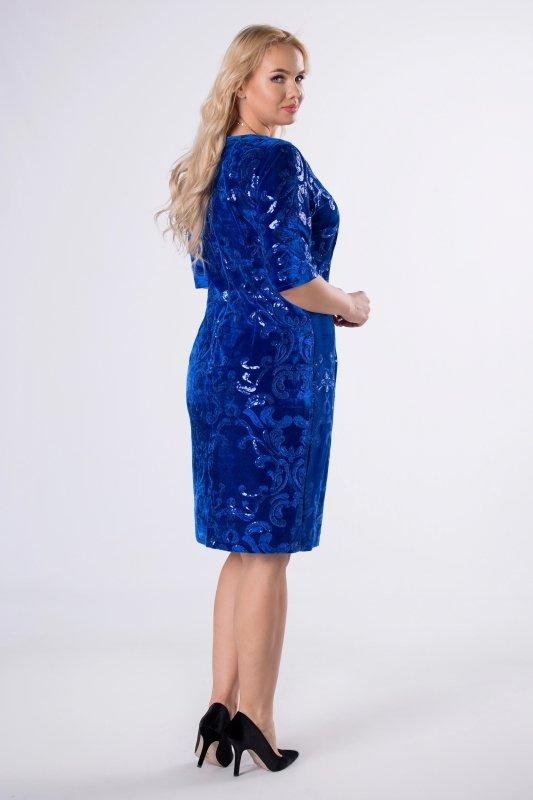 welurowa sukienka z cekinami