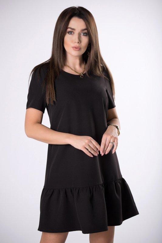 trapezowa sukienka z falbaną