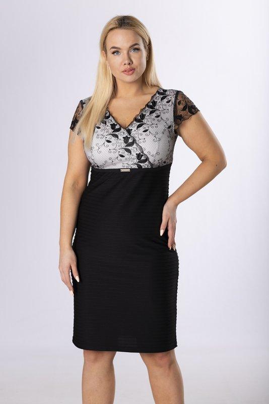 ołówkowa sukienka z koronkową górą
