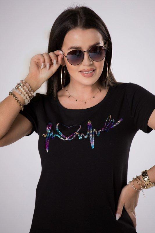 t-shirt z holograficznym printem