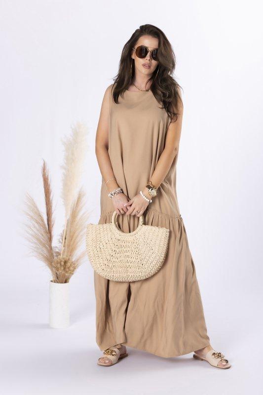 sukienka maxi z odkrytymi ramionami