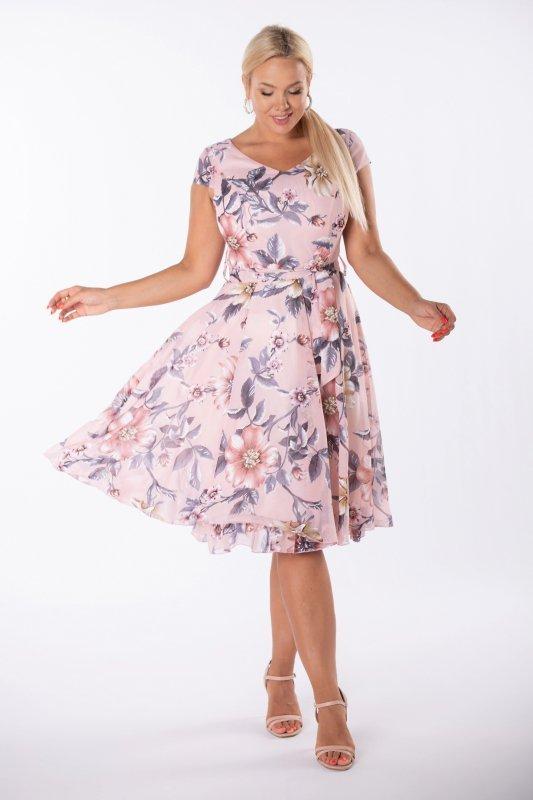 rozkloszowana sukienka z wiązaniem