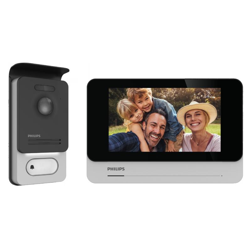 """Philips WelcomeEye Connect 2, Zestaw wideodomofonowy, bezsłuchawkowy, kolor, LCD 7"""", dotykowy, menu OSD, WI-FI + APP na telefon,"""
