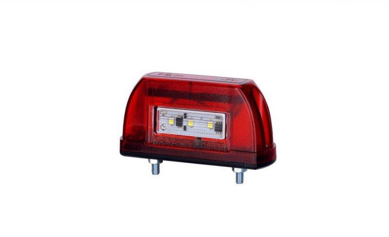 Lampa oświetlenia tablicy rejestracyjnej uniwersalna - mała hor 63, czerwona, diodowa 12/24v - ltd 669 (przewód płaski 2x0,75 mm