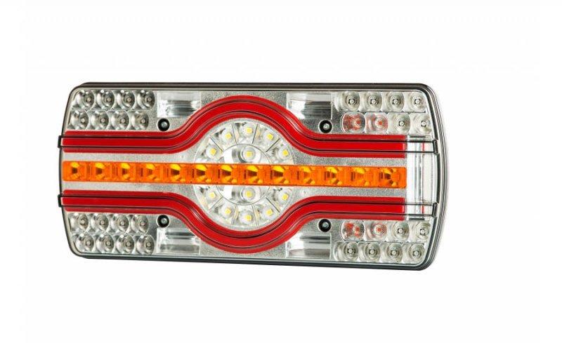 Lampa zespolona tylna hor 89, ema - 6 funkcyjna, diodowa 12/24 v, (oświetlenie tablicy rejestracyjnej boczne, przewód okrągły 7x