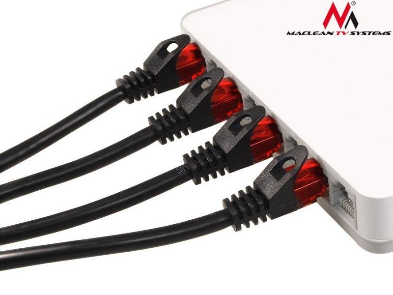 Przewód kabel patchcord UTP cat6 wtyk-wtyk 1m czarny Maclean MCTV-740