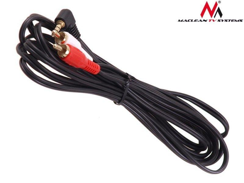 Przewód mini jack 3,5mm kątowy 2RCA 10m czarny MCTV-827