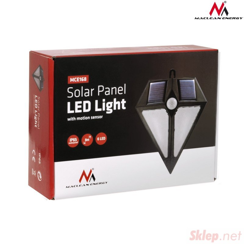Lampa solarna ścienna 6 LED Maclean Energy z czujnikiem ruchu MCE168 2x solar