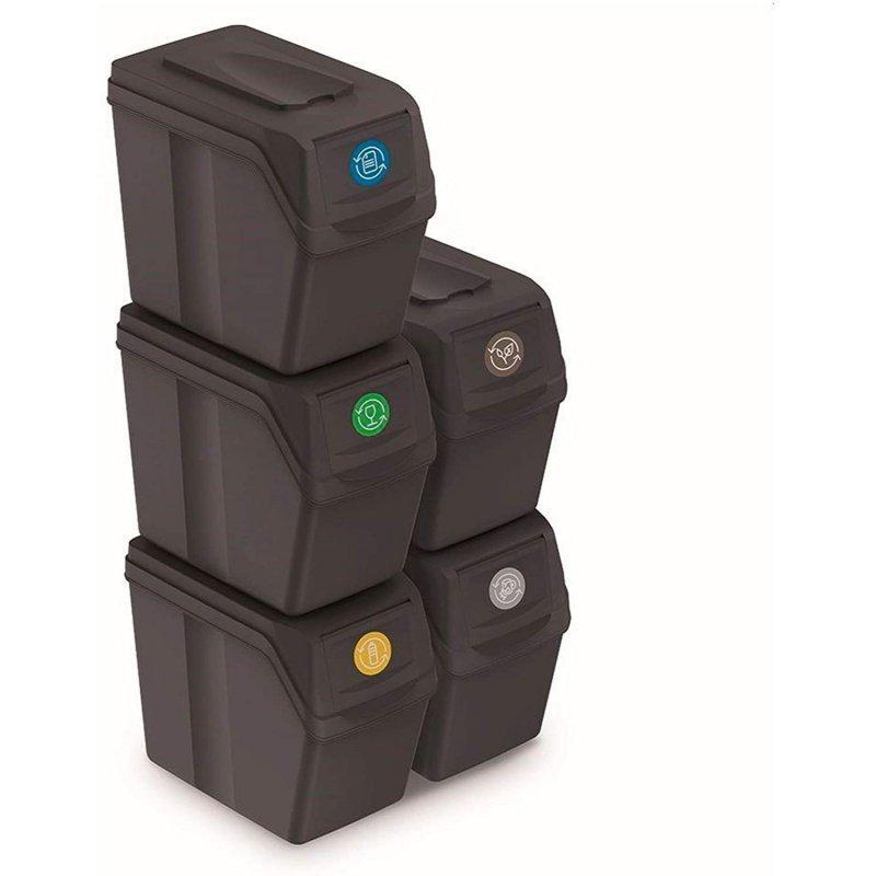 Zestaw koszy do segregacji Sortibox 5x20L antracyt ISWB20S5